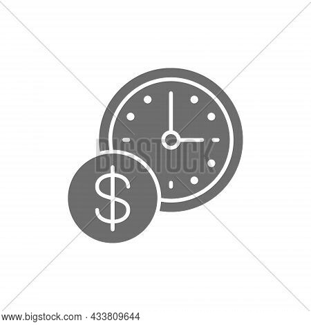 Time Is Money, Clock With Coin Grey Icon.