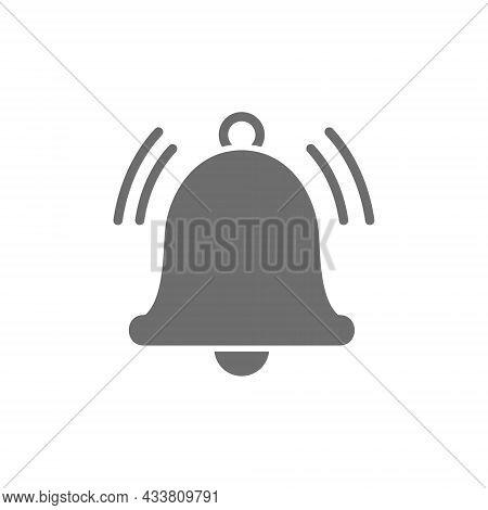 Notification Bell, Alarm, Service Handbell Grey Icon.