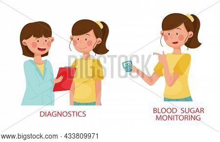 Diabetes Disease Advices Set. Diagnostics And Blood Sugar Monitoring Vector Illustration