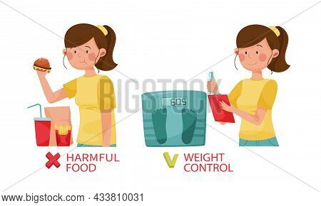 Harmful And Useful Habits For Diabetes. Harmful Food, Weight Control Vector Illustration