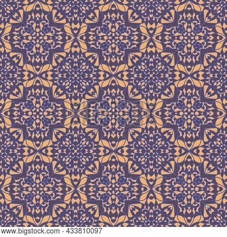 Abstract Arabesque Pattern, Seamless Baroque Ornament Vector Graphic Design.