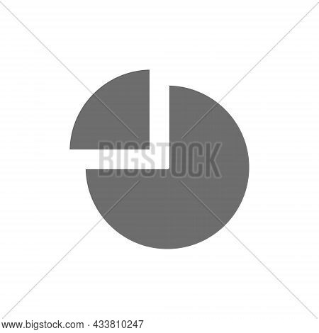 Pie Chart With Segment Grey Icon. Isolated On White Background
