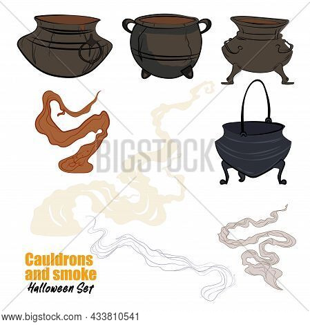 Witches Black Cauldron With Boiling Magic Potion Isolated On White Background. Decorative Element Fo