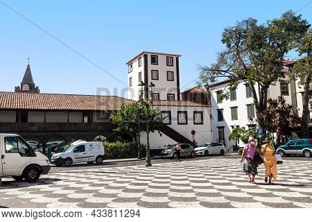 Funchal, Madeira - August 20, 2021: This Is A Fragment Of The Municipal Square, Lined With Mosaic Pa