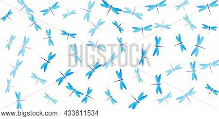 Tropical Cyan Blue Dragonfly Flat Vector Wallpaper. Summer Colorful Insects. Detailed Dragonfly Flat