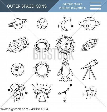 Space Icons Set, Minimalistic Collection Of Astronomy Symbols And Planets, Vector Illustration