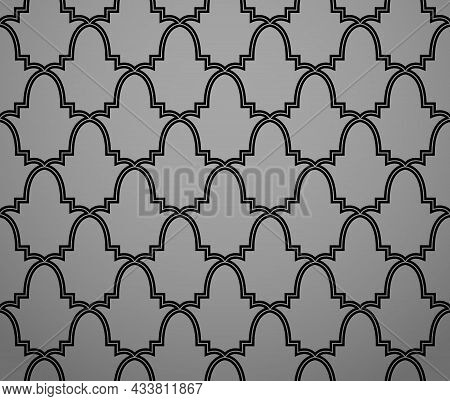 Abstract Geometry Pattern In Arabian Style. Seamless Background. Black And Grey Graphic Ornament. Si