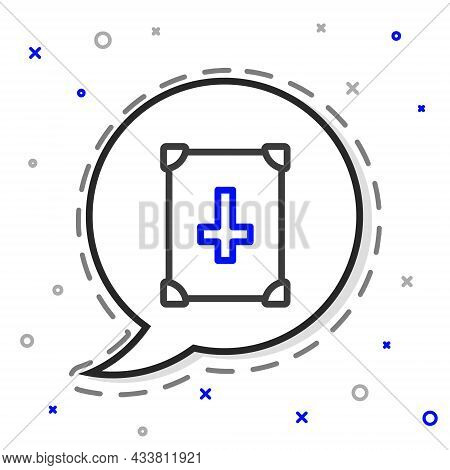 Line Ancient Magic Book With Alchemy Recipes And Mystic Spells And Enchantments Icon Isolated On Whi