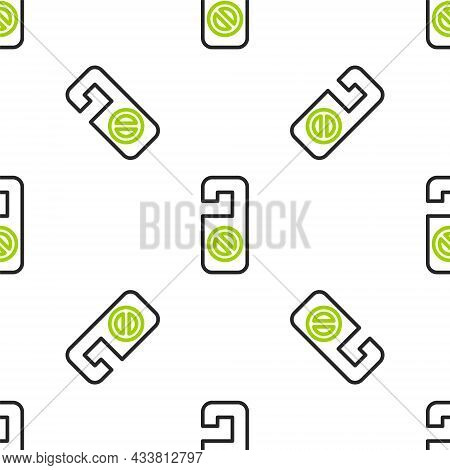 Line Please Do Not Disturb Icon Isolated Seamless Pattern On White Background. Hotel Door Hanger Tag