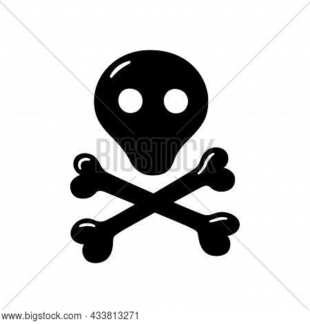 Skull With Cross Bones. Hand Drawn Symbol Of Pirates, Poison, Death, Hell And Anger. Vector Illustra