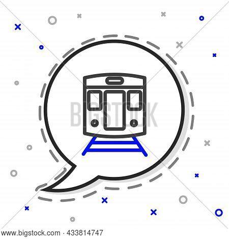 Line Train And Railway Icon Isolated On White Background. Public Transportation Symbol. Subway Train