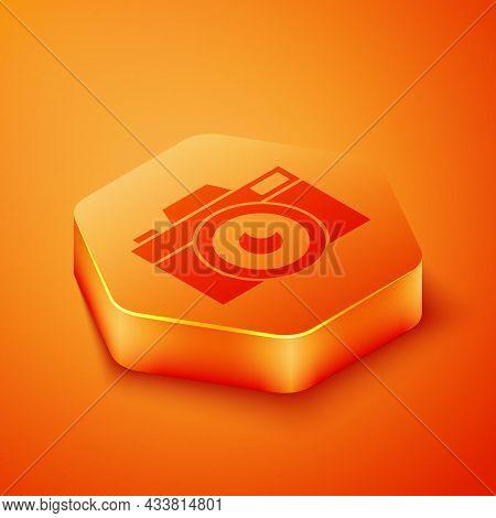 Isometric Photo Camera Icon Isolated On Orange Background. Foto Camera Icon. Orange Hexagon Button.