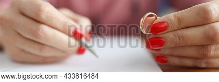 Woman Is Applying For Divorce And Is Holding Wedding Ring