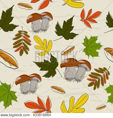 Seamless Texture With Autumn Pattern From My Collection Of Posters And Seamless Textures. Vector Ill