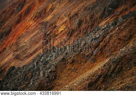 Scenic Nature Background Of Multicolor Mountain. Colorful Nature Backdrop Of Motley Rocks. Multicolo