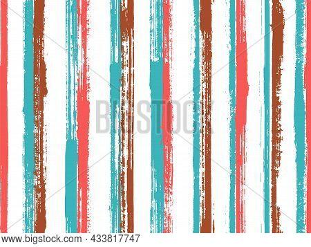 Watercolor Brush Stroke Irregular Stripes Vector Seamless Pattern. Hipster Swimwear Marine Design.