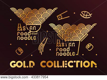 Food Vector Icon Set. Noodle Gold Line Collection On Dark Background Logo. Noodles In A Plate, In A