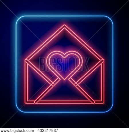 Glowing Neon Envelope With Valentine Heart Icon Isolated On Black Background. Message Love. Letter L