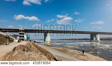 Barnaul. Russia. April 16, 2021. River Station And Bridge Over The Ob River. People Are Watching The
