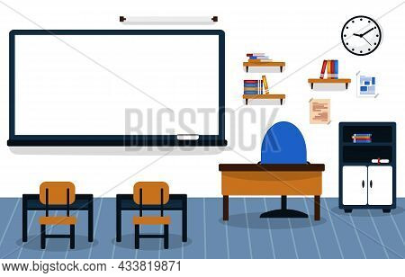 Class School Nobody Classroom Lesson Table Chair Education Illustration