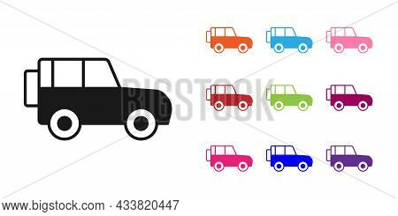 Black Off Road Car Icon Isolated On White Background. Set Icons Colorful. Vector