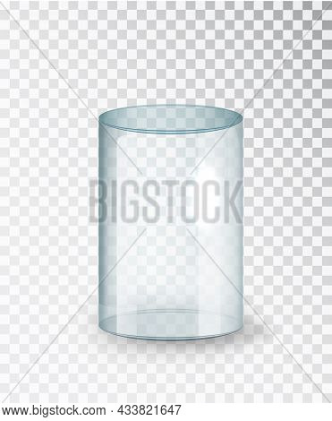 Glass Cylinder. Empty Transparent Glass Cylinder Isolated On Transparent Background. Exhibit Transpa