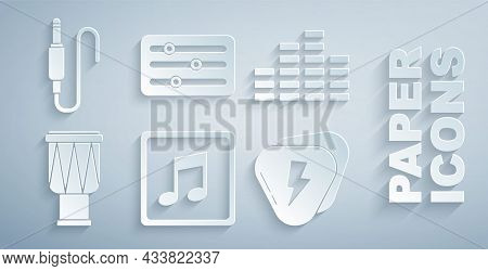 Set Music Note, Tone, Equalizer, Drum, Guitar Pick, Sound Mixer Controller And Audio Jack Icon. Vect