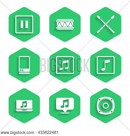 Set Music Note, Tone, Musical In Speech Bubble, Stereo Speaker, Laptop With Music, Voice Assistant,