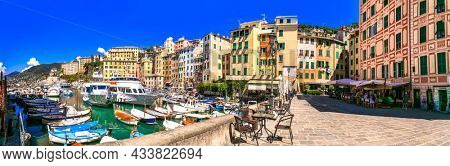 Camogli - charming fishing village in Liguria. popular tourist destination in Italy. september 2021