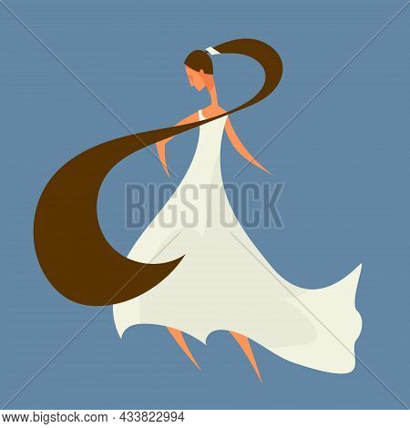 Bride In White Dress. Female Character In Flat Style.