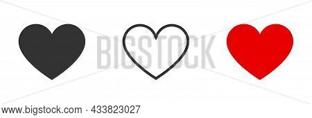 Collection Of Heart Icons. Modern Symbol Of Love Icon. Heart Shape Vector Designs, Flat Style Isolat
