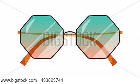 Fashion Sunglasses With Gradient Lenses. Stylish Octagon Sun Glasses With Thin Rim. Summer Eyewear O