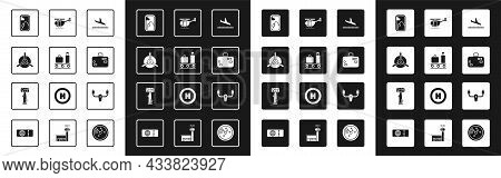 Set Plane Landing, Airport Conveyor Belt With Suitcase, Propeller, Airplane Window, Suitcase, Helico