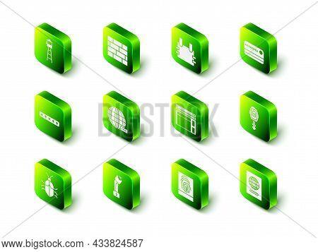 Set Bricks, Bulletproof Vest, Credit Card, Car Key With Remote, Passport, Website Template, Fingerpr