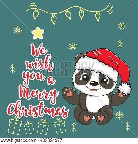 Cute Cartoon Panda In Red Santa Claus Hat Postcard With Congratulation Letter. Vector Illustration.