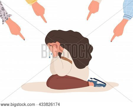 Social Bullying. Fingers Pointing On Sad Girl. Depressed Teenager Sitting On Floor And Crying. Viole