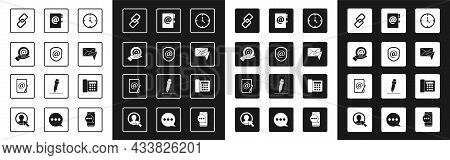 Set Clock, Shield With Mail And E-mail, Mail In Hand, Chain Link, Envelope, Address Book, Telephone
