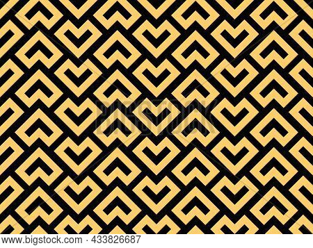Abstract Geometric Pattern. A Seamless Background. Black And Gold Ornament. Graphic Modern Pattern.