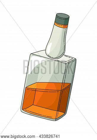 Whiskey Realistic Bottle. Product Packaging Brand Design. Mock Up Bottle Of Bourbon Whiskey Alcohol
