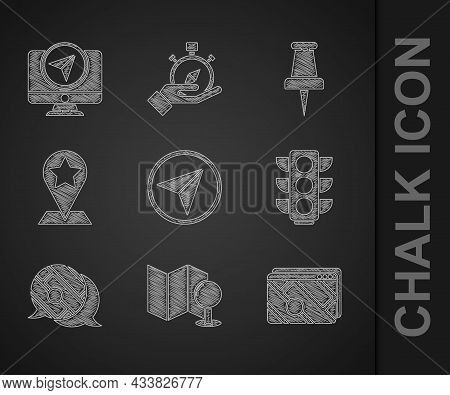 Set Infographic Of City Map Navigation, Folded With Push Pin, Traffic Light, Map Pointer Star, Push