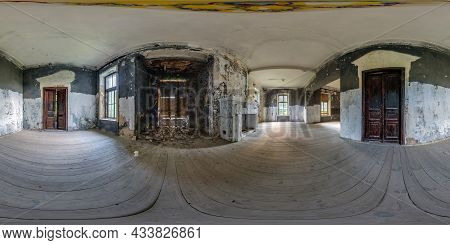 360 Hdri Panorama In Abandoned Empty Concrete Room Or Unfinished Building In Full Seamless Spherical