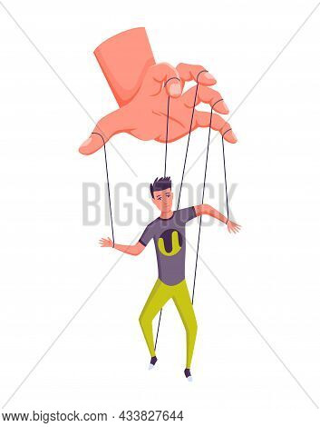 Puppeteer Hand Controlling Puppet. Business Man Or Worker Being Controlled By Puppet Master. Manipul