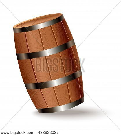Realistic Wooden Barrel. Isolated Oak Cask With Timber Body With Iron Rings On White Background. Vec