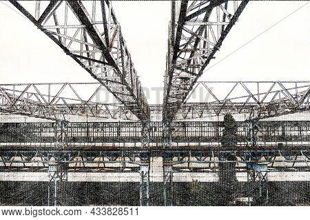 Industrial Landscape. Factory Metalwork. Bridge Cranes, Metal Trusses Over Production Areas. Digital