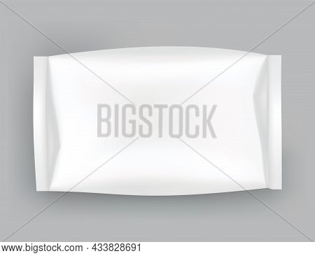 Packaging Mockup Or Pouch Template. Realistic Glossy Blank Of Doy Pack, Chip Snacks, Candy Pack Or C
