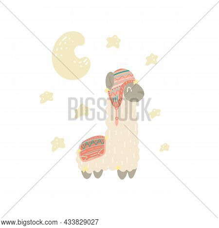 Cute Alpaca With Stars And A Crescent Moon On White Background. Vector Hand Drawn Flat Illustration