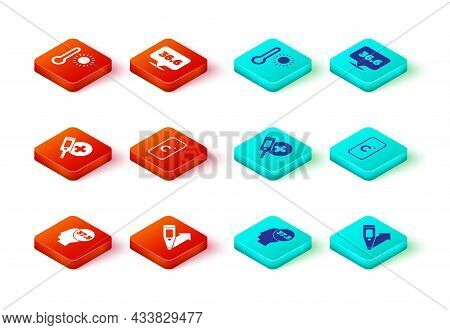 Set High Human Body Temperature, Digital Thermometer, Celsius, Medical And Meteorology Icon. Vector
