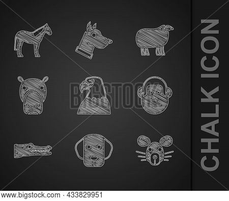 Set Eagle Head, Dog, Rat, Monkey, Crocodile, Hippo Or Hippopotamus, Sheep And Horse Icon. Vector
