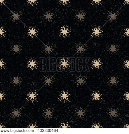 Vector Celestial Magic Stars With Texture Seamless Pattern Background On Black Surface