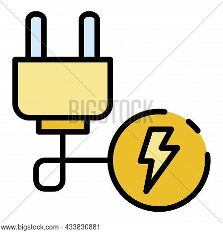 Electric Plug Wire Icon. Outline Electric Plug Wire Vector Icon Color Flat Isolated
